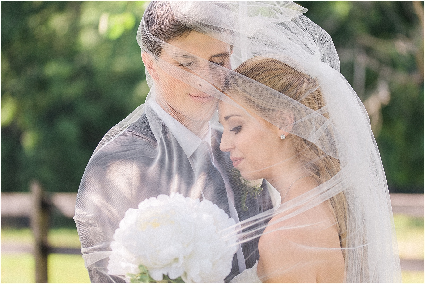 Bride and Groom romantic portrait under veil outside Columbia SC wedding