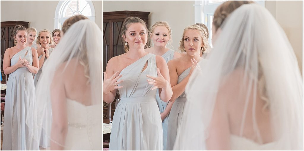 bridesmaids react with smiles and tears when they see the bride