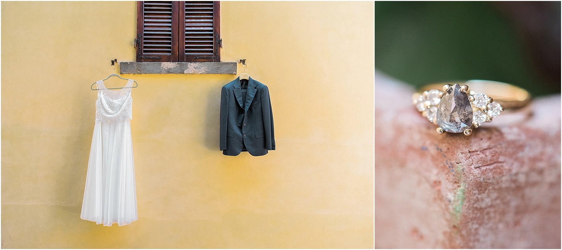 bride and groom details hanging on tuscan window yellow stucco wall and salt and pepper engagement ring on terra cotta pot