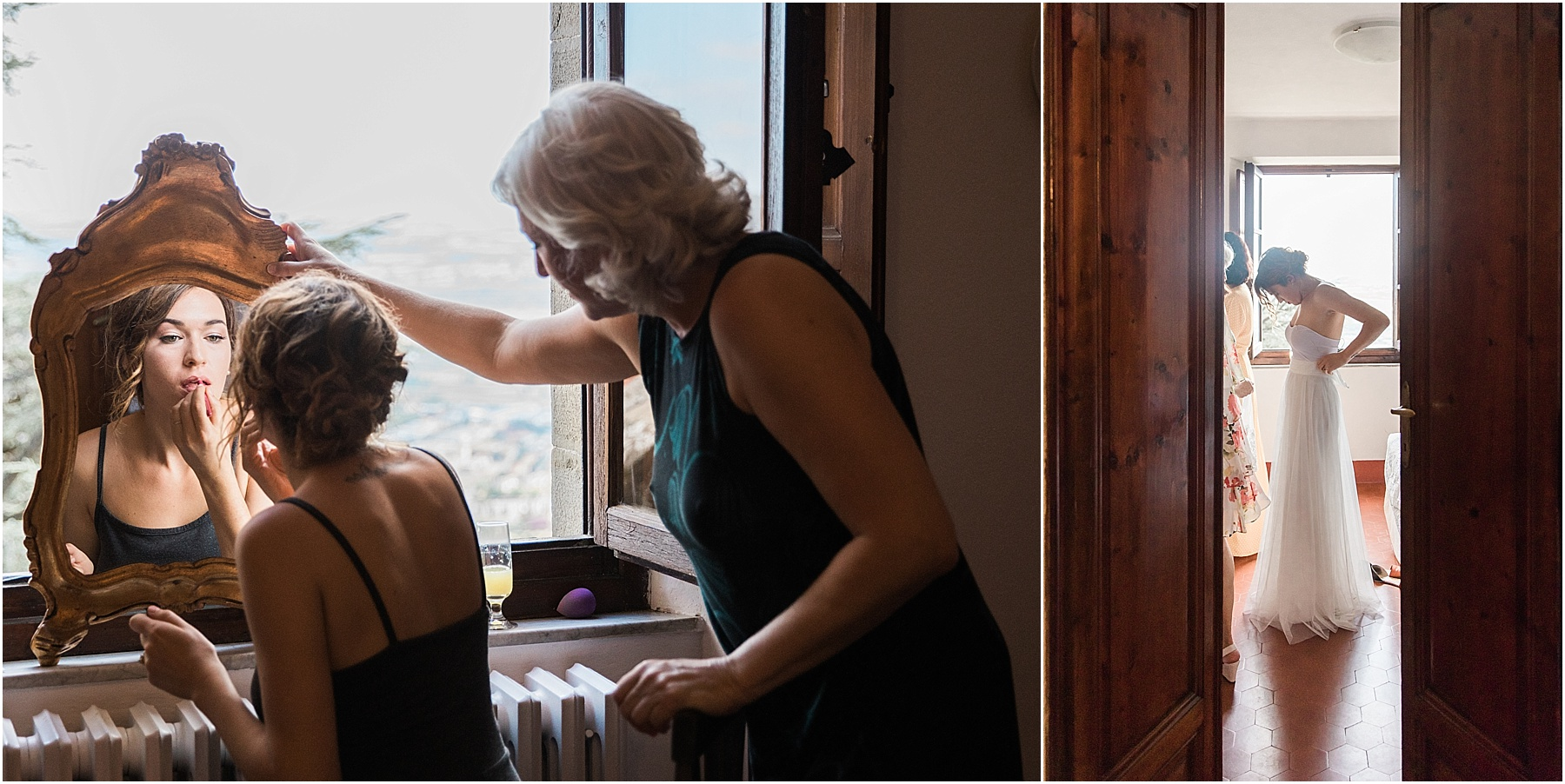 bride getting ready for her cortona italy destination wedding with the help of her mother of the bride peeking into the room as bride gets dressed