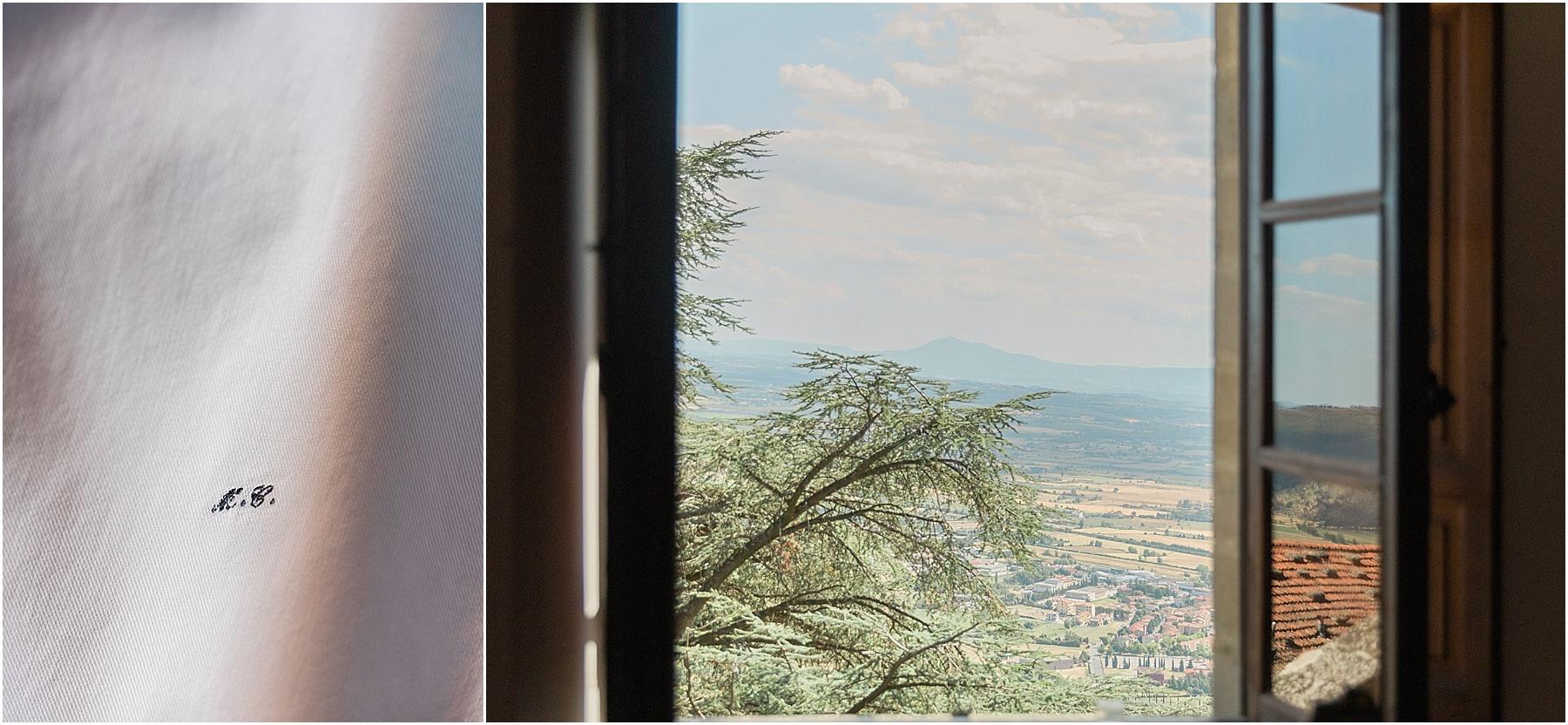 view from tuscan cortona villa wedding preparations monogram
