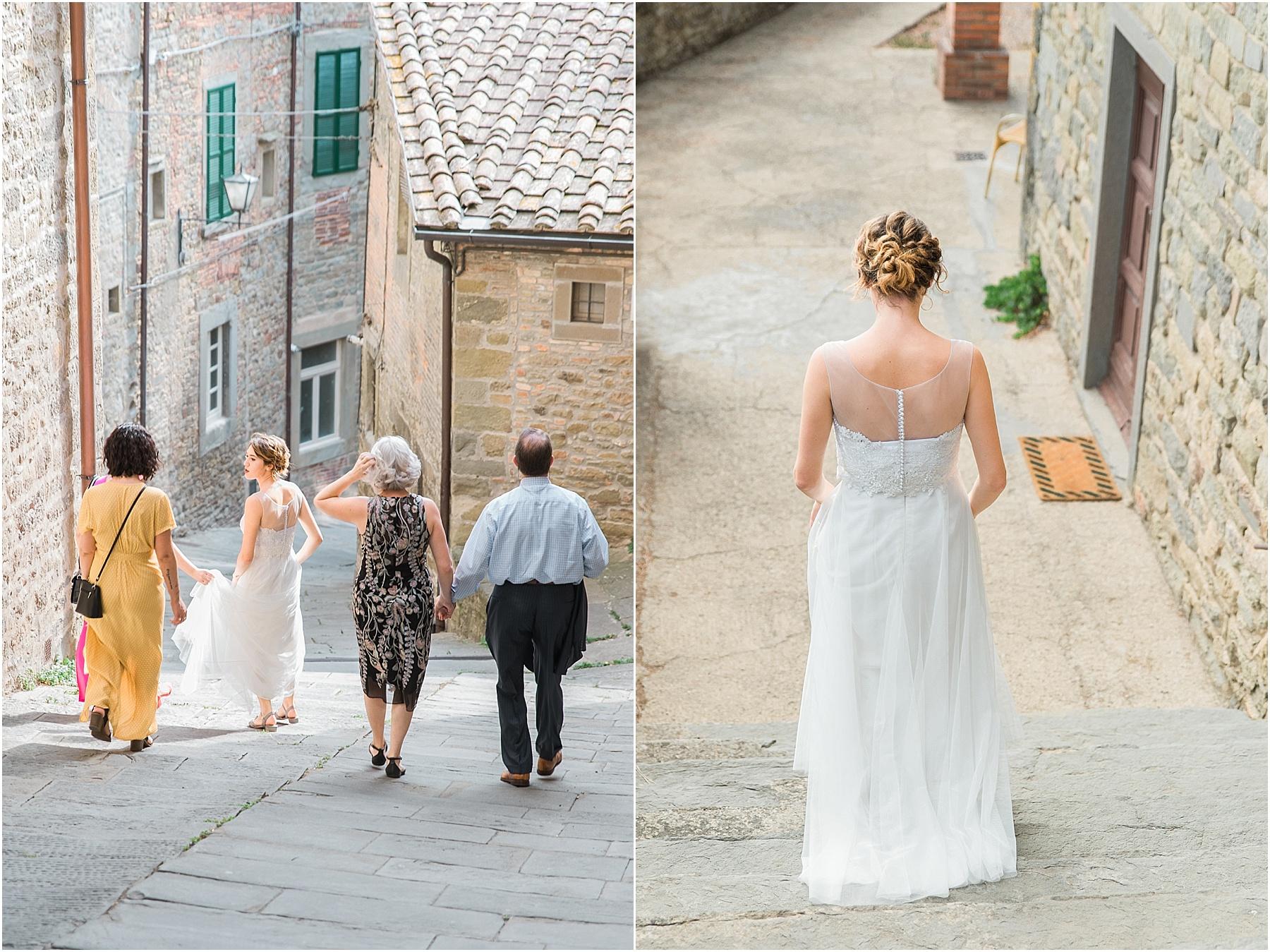 cortona wedding tuscan wedding arezzo destination wedding bride walking to the ceremony venue comune di cortona