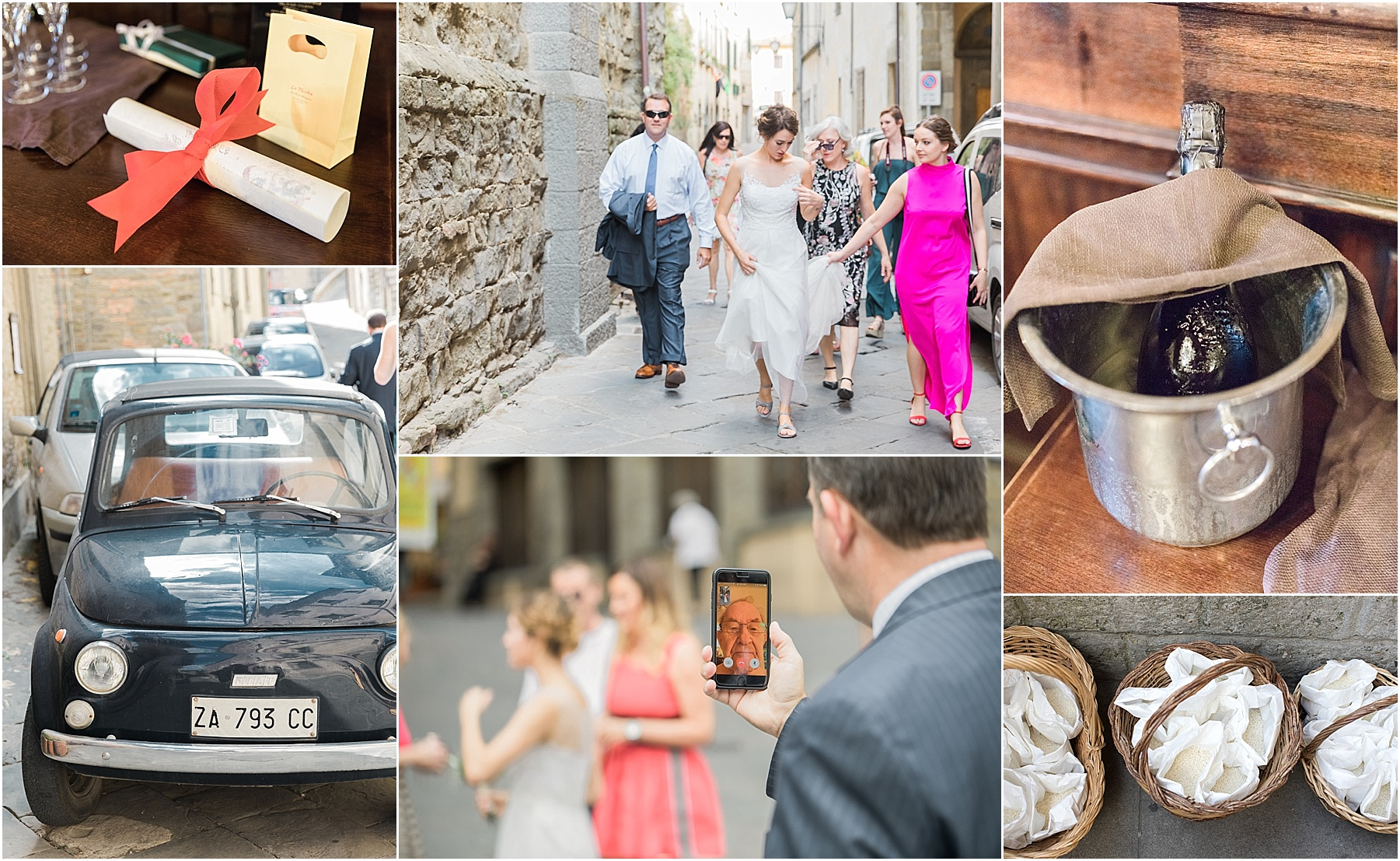 destination wedding italy tuscany cortona walking to the ceremony fiat ceremony details risotto to throw