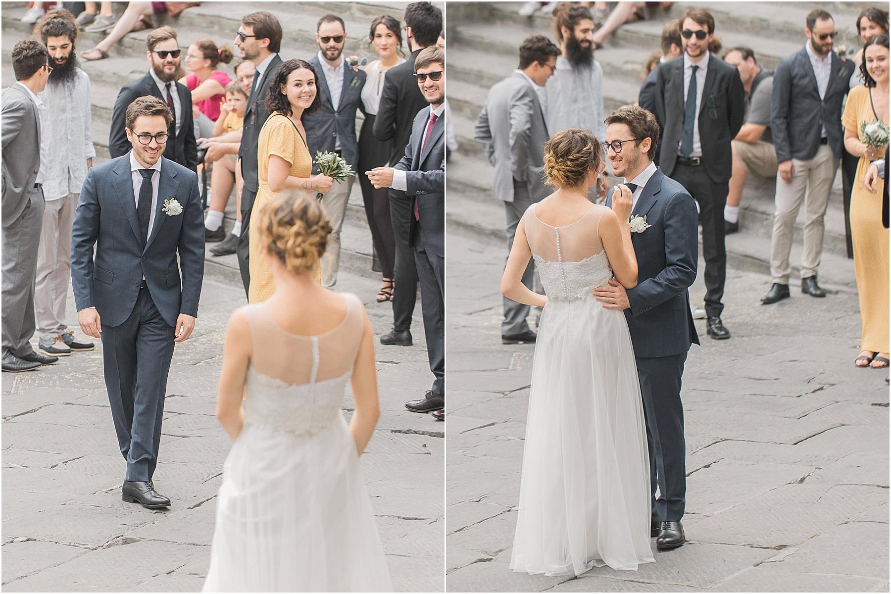 destination wedding first look piazza della repubblica cortona italy