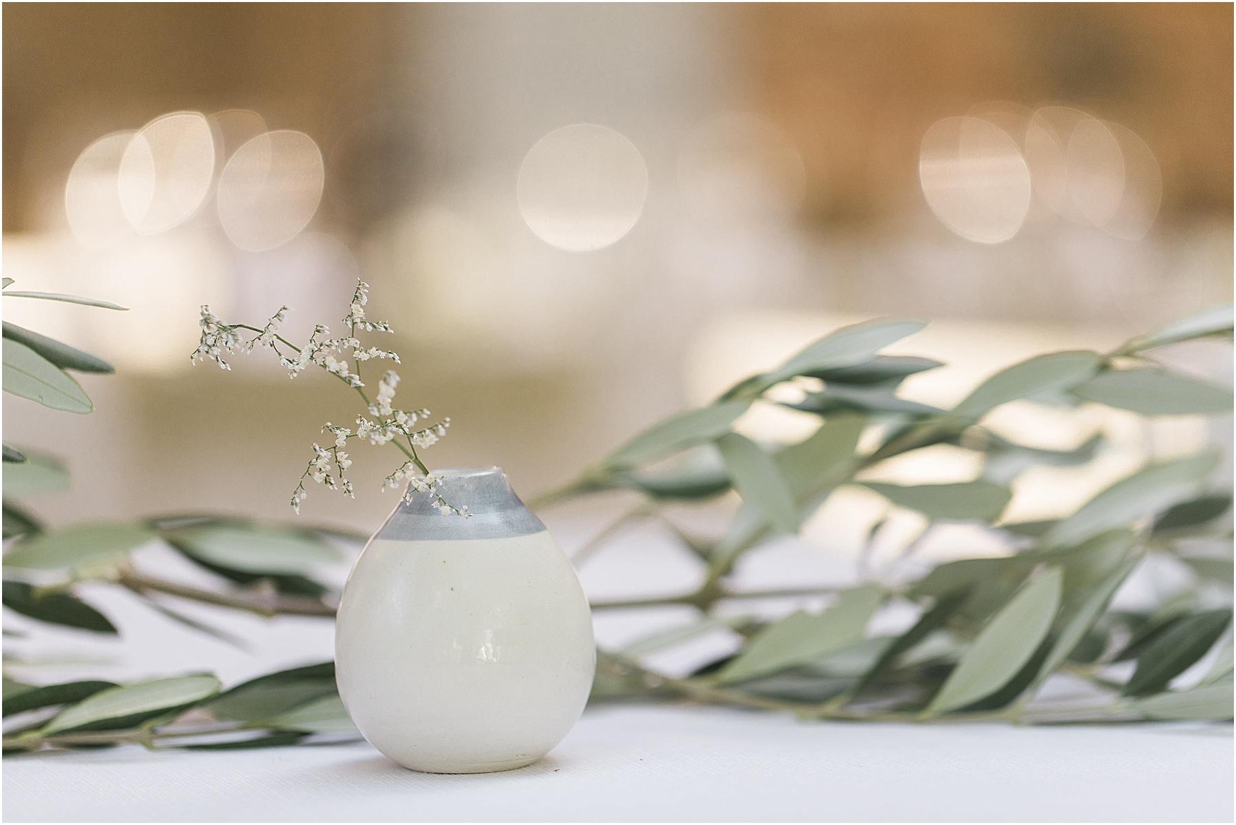 decor and beautiful bomboniere wedding favors ceramiche pottery at Osteria Borgo Syrah in Cortona Italy