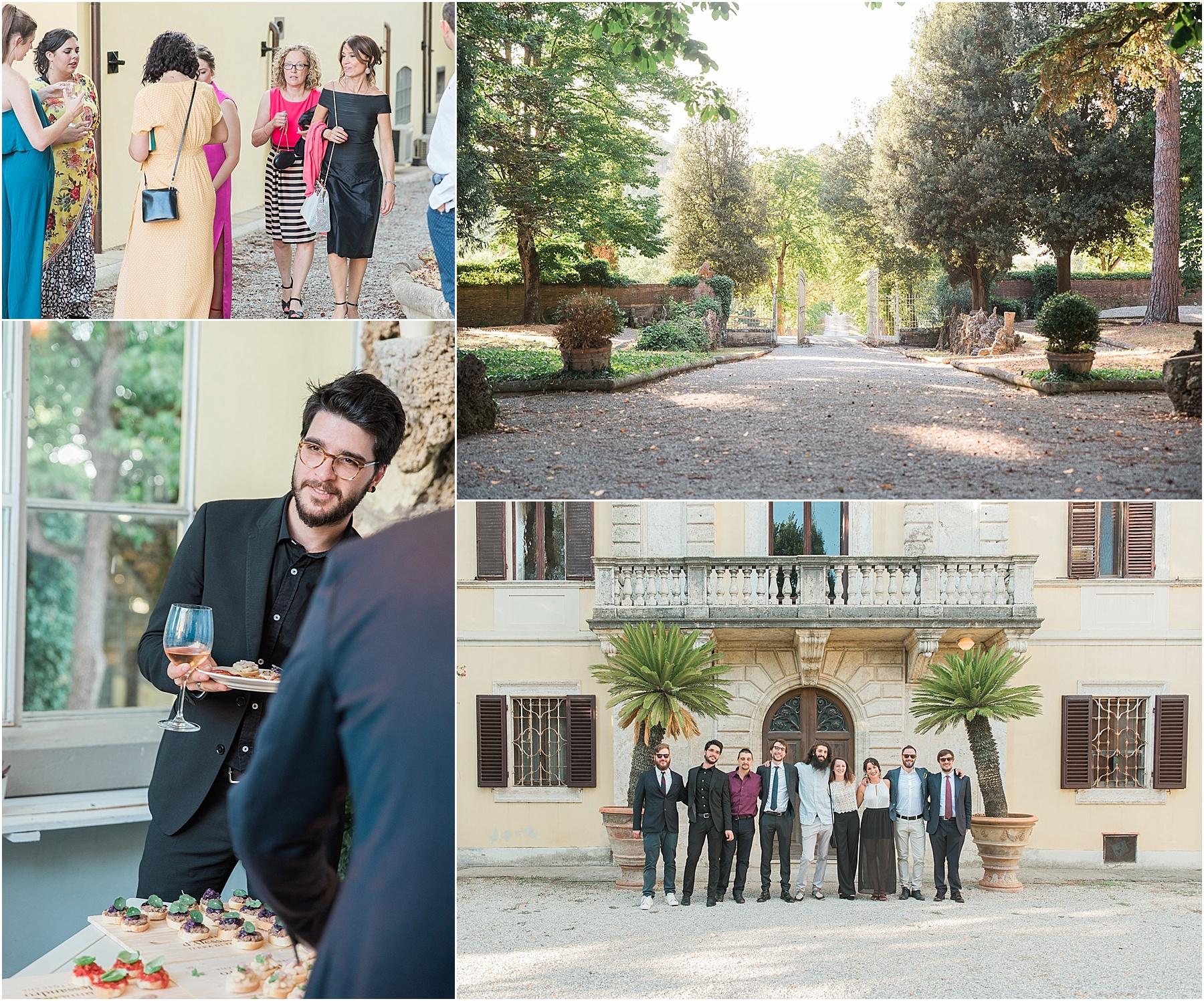 wedding guests mingling enjoying aperitivo nozze cortona winery vineyard tenimenti d'alessandro osteria borgo syrah