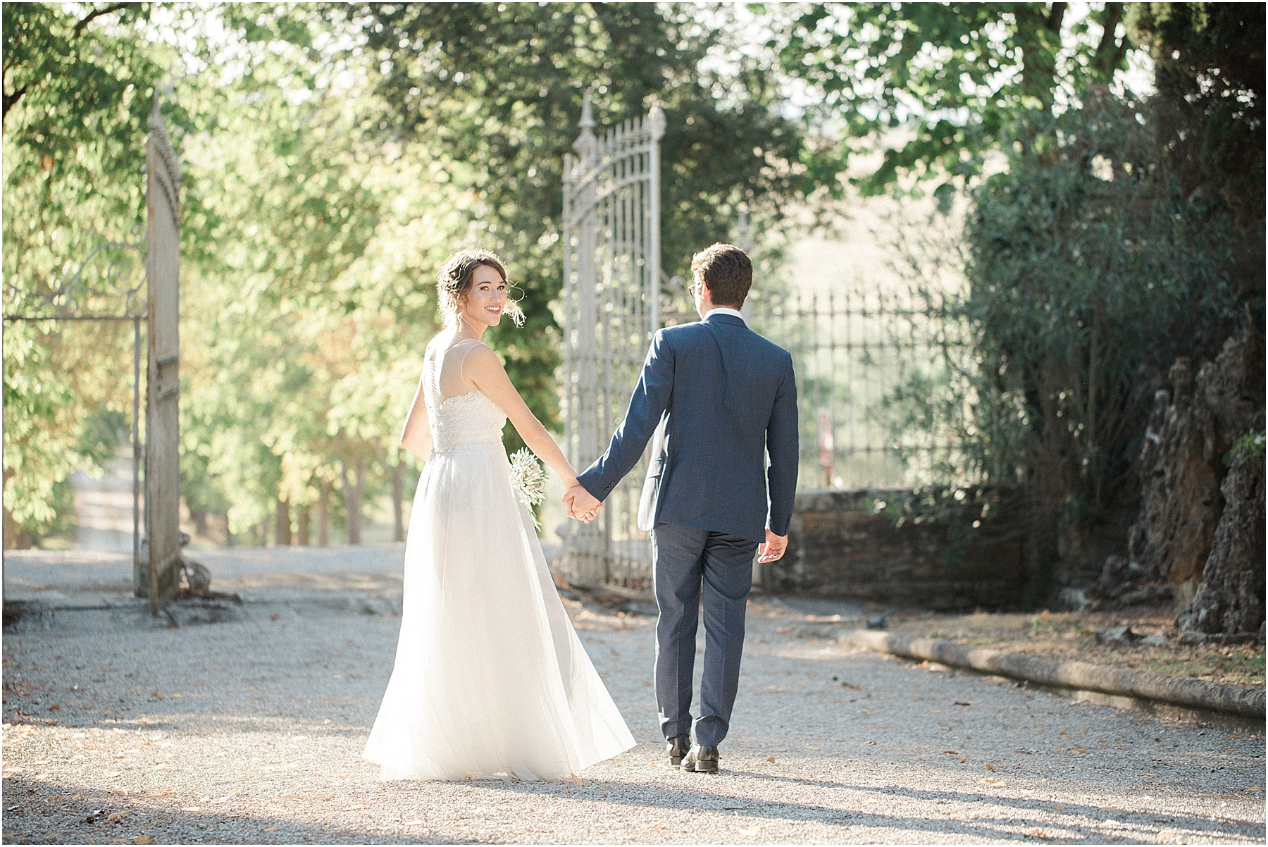 tuscan sunset sunlight golden hour bride and group with peugeot in cortona tuscany italy film destination wedding photography