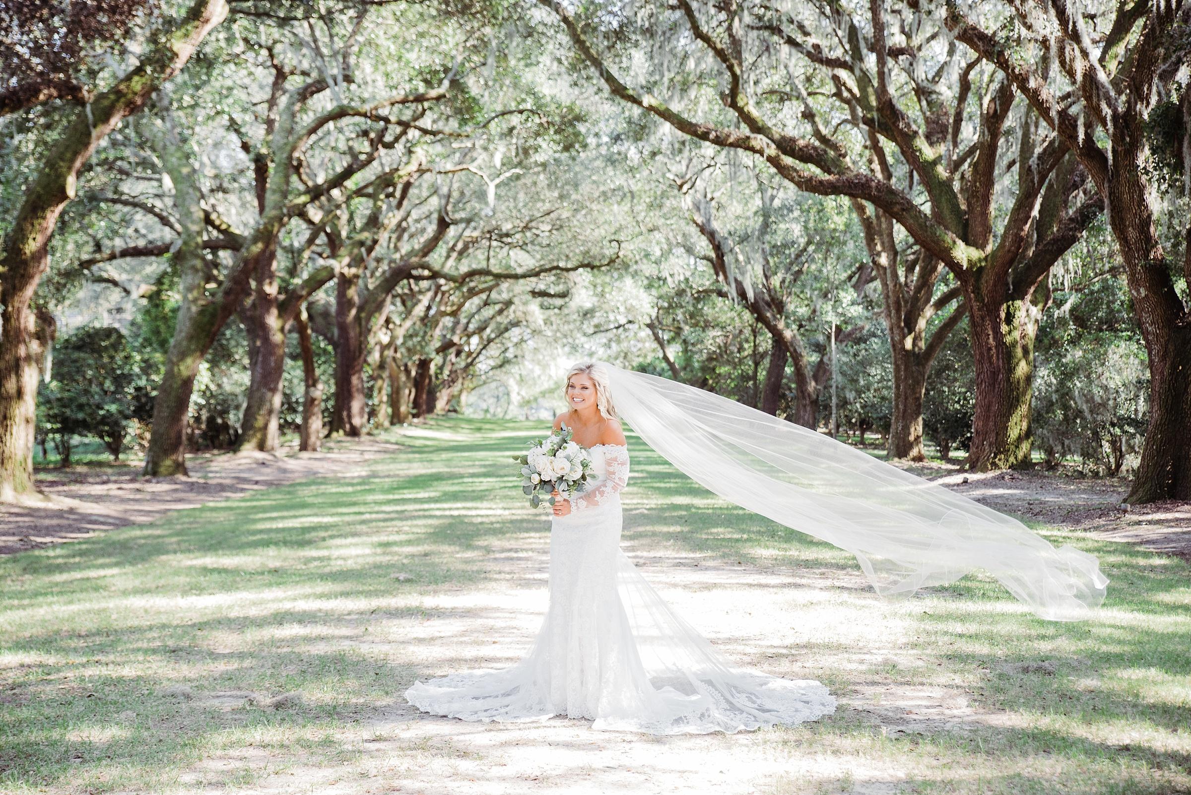 charleston sc bridal portrait session legare waring house wedding photographer spanish moss bridal portraits oak trees