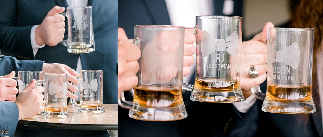 groomsmen holding grooms gifts beer glasses in hands personalized monogrammed wedding gifts melissa brewer photography greenville sc wedding photographer