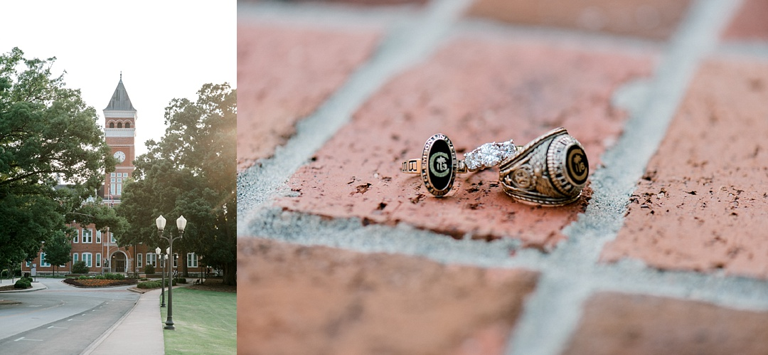 clemson university engagement session at clemson close up engagement ring and class ring upstate wedding photography greenville wedding photographer upstate sc engagement