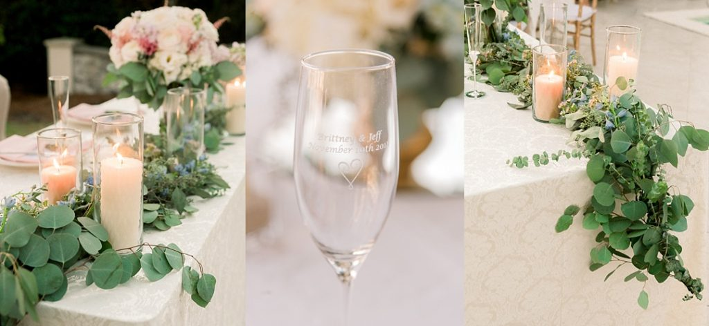 hilton head island wedding tablescape eucalyptus olive branches greenery wedding decor blush peach gold wedding tablescape SC wedding photographer