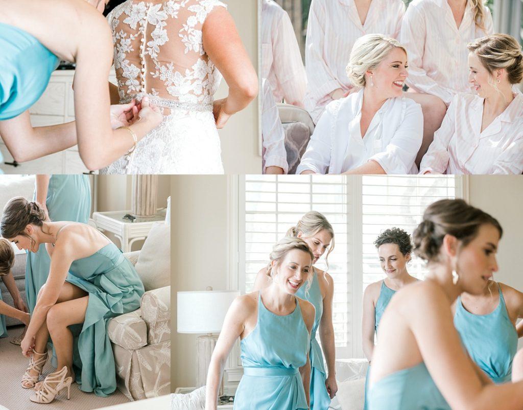 bridesmaids in blue dresses getting ready wedding photography hilton head island wedding photographer beach destination wedding photographer