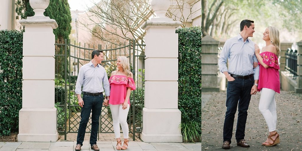 rainbow row charleston engagement session doorway rainbow row charleston sc engagement charleston wedding photographer sc film photographer sc wedding photographer southern wedding engagement photographer waterfront park charleston battery engagement