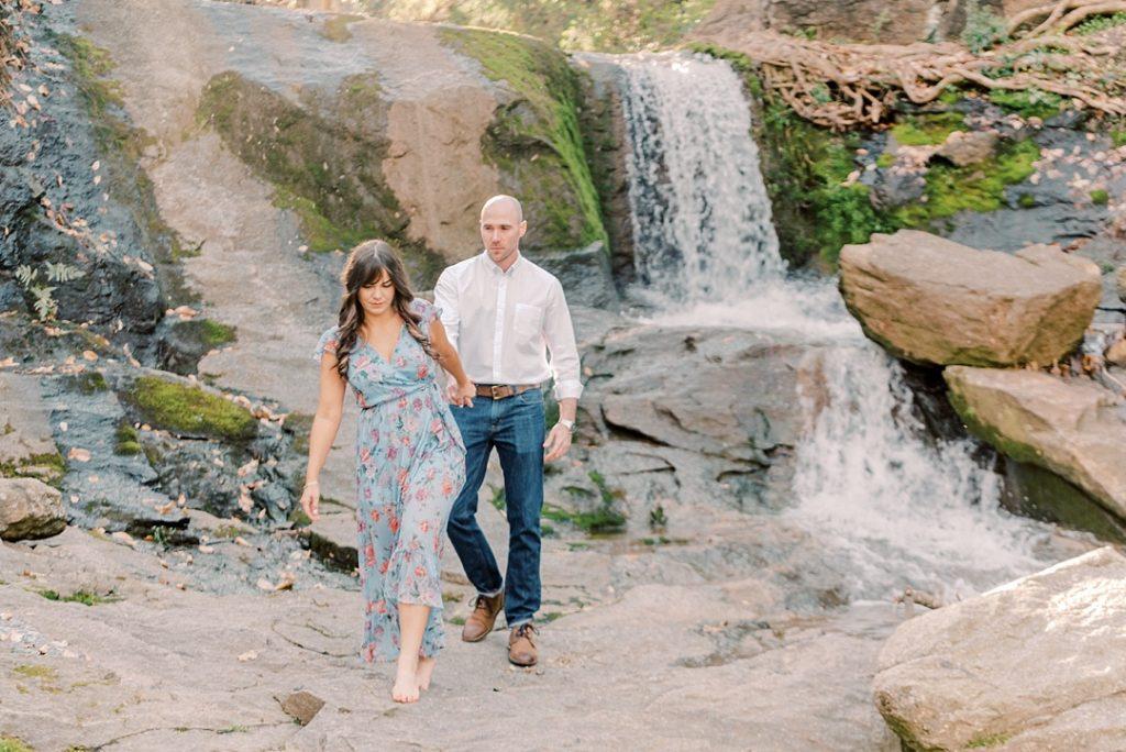 falls park on the reedy greenville sc waterfall greenville wedding photographer melissa brewer photography greenville sc spring engagement session