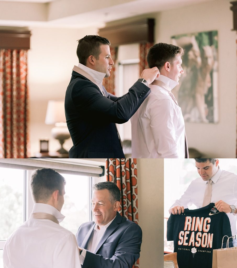 groom and groomsmen  getting ready for clemson wedding madren center james martin inn clemson sc wedding photographer