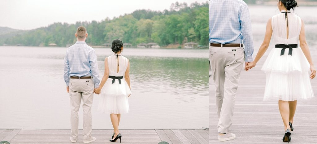 reserve at lake keowee engagement couple at dock on lake engagement photography