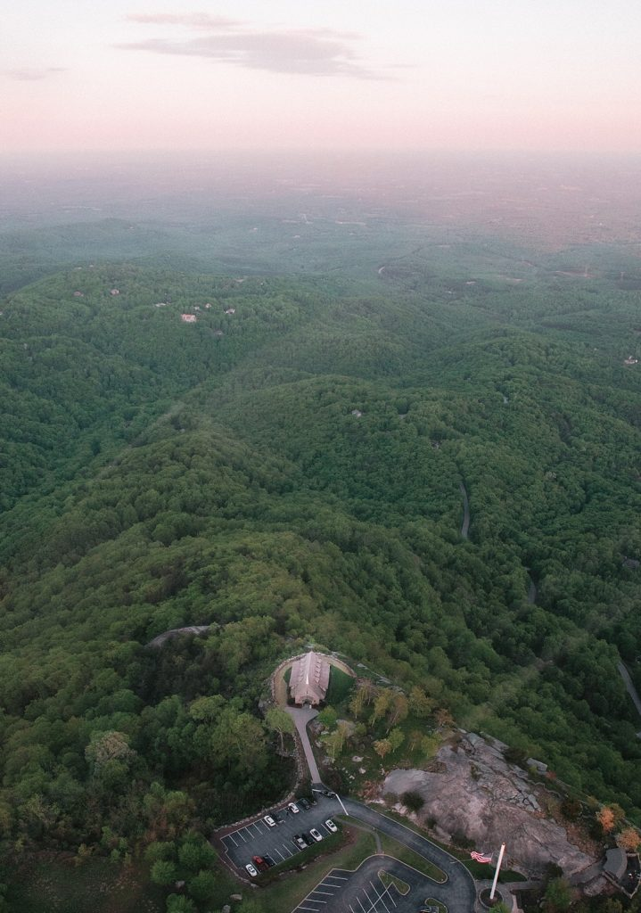 Upstate Helicopter tour over Greenville sc engagement session photography aerial view of Greenville SC mountains